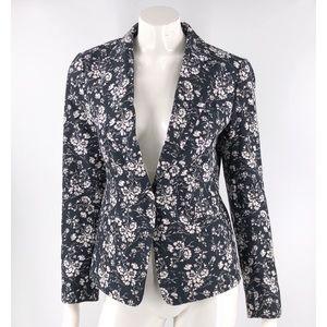 Ann Taylor Jacket Sz 8 Black White Floral Career